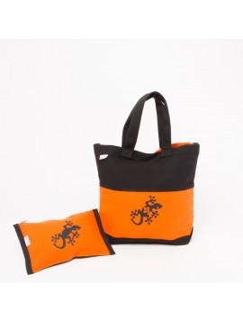 Ensemble sac toile noir et orange, pochette orange et espadrilles noires