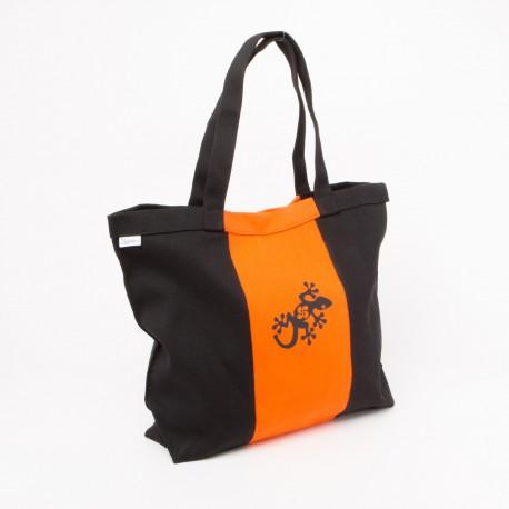 Grand sac en toile noir et orange avec gecko