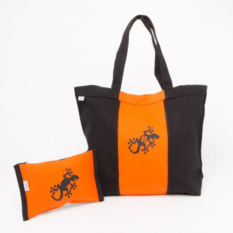 Sac en toile noir et orange avec pochette zippée