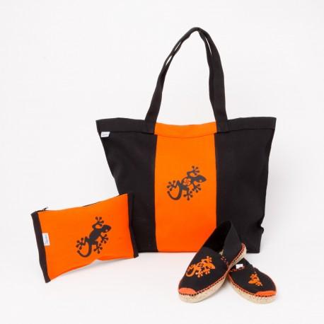 Sac en toile noir et orange + pochette + espadrille