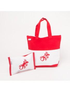 Sac en toile rouge et blanc avec gecko + pochette